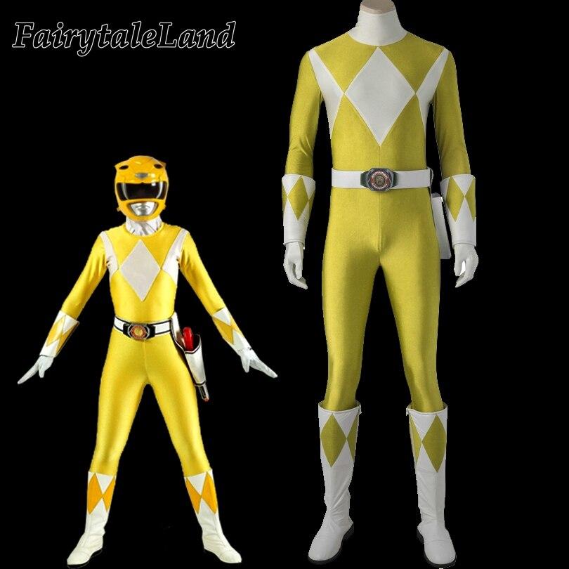 Zyuranger tigre Ranger garçon cosplay costume Halloween costumes pour hommes Rangers cosplay jaune Ranger Boi costume spandex combinaison
