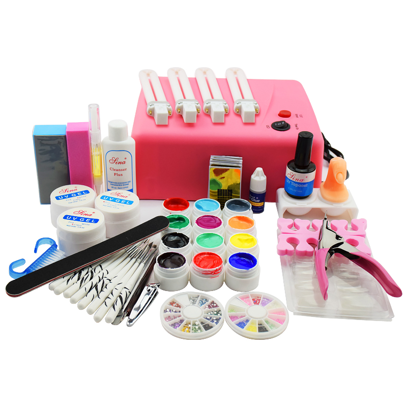 36W UV LED Gel Acrylic Nail kit with uv lamp Nail Dryer Manicure UV Gel Polish Brush Glitter Powder Nail Art Extension Tool Set pro starter kit nail salons kit nail art acrylic powder french tips 9w uv lamp glitter powder uv gel manicure set
