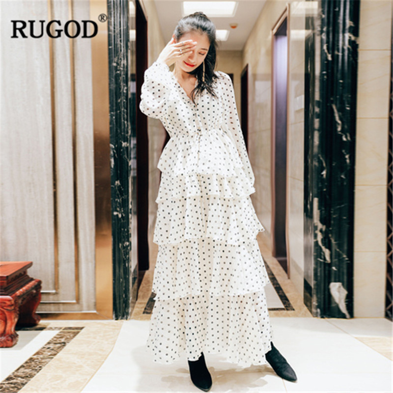 RUGOD 2019 New Dot Print Cascading Ruffle Dress Women Sexy V Neck Long Sleeve Cake Dress