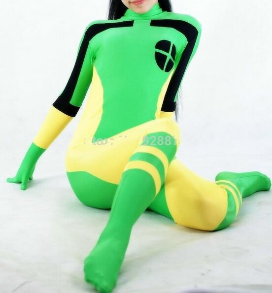 X-Men Rogue Cosplay Costume Lycra Elastic Sexy Catsuit Marvel Superhero Halloween Costume