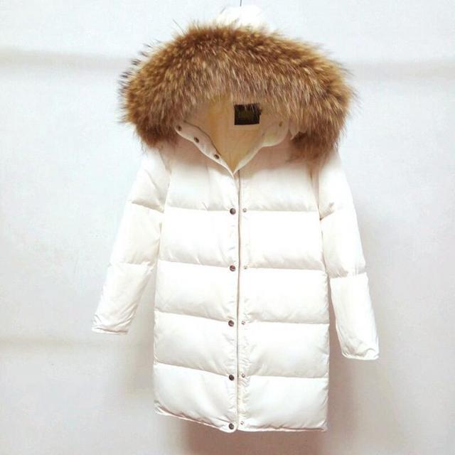 2018 Winter White Duck Down Jacket Female Parkas Jacket Women Long Thick Parka Natural Raccoon Fur Collar Hood Coat w525