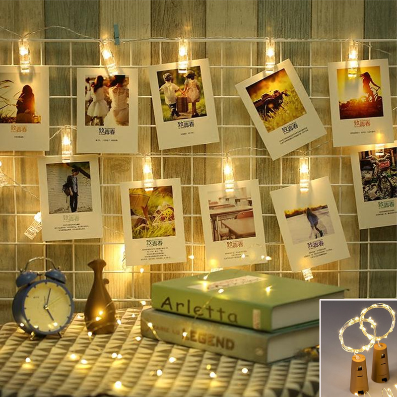 1M 2M Battery Powered Photo Clip String Lights Decorative LED Christmas Lights for Party Holiday Decoration Garland