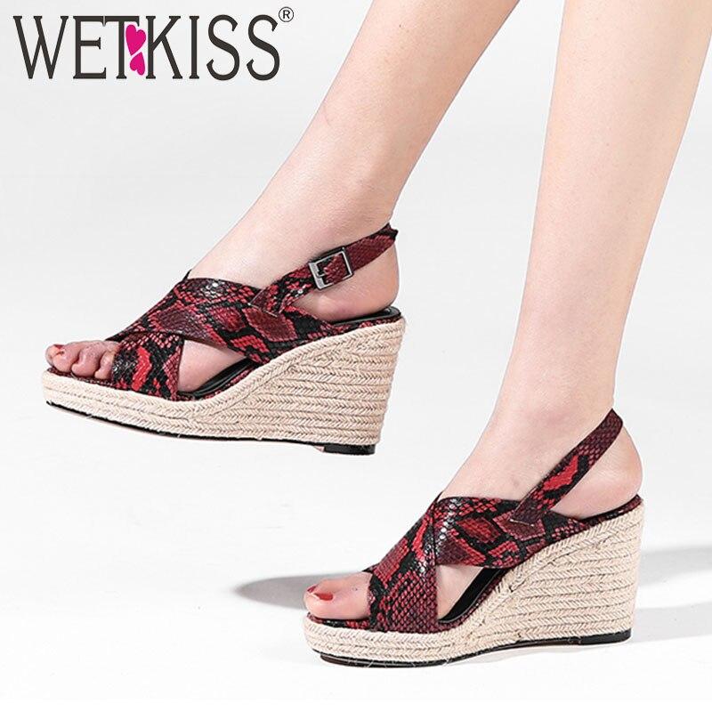 Wetkiss 뱀 샌들 여성 오픈 발가락 신발 웨지 양모 하이힐 샌들 여성 밀짚 위브 플랫폼 신발 여성 여름-에서하이힐부터 신발 의  그룹 1