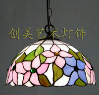 Free Shipping 12 Inch Tiffany Chandelier Daffodils Chinese Restaurant Kitchen Balcony Glass Art Lighting Fixtures