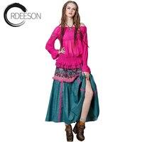 ORDEESON 2017 New Fashion Print BOHO Vintage Red Long African Swing Skirts Lolita Ethnic Style Womens