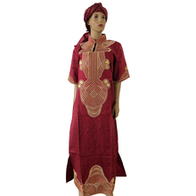 MD cotton african clothes bazin riche dress for women traditional embroidery dresses turban sets 2019 new design