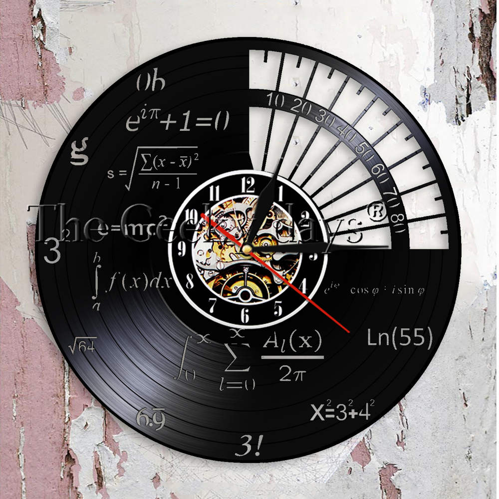 Science Decor Math Equation Wall Clock Algebra Geometry Vinyl Record Wall Clock Math Formula Decorative Wall Watch Teachers Gift