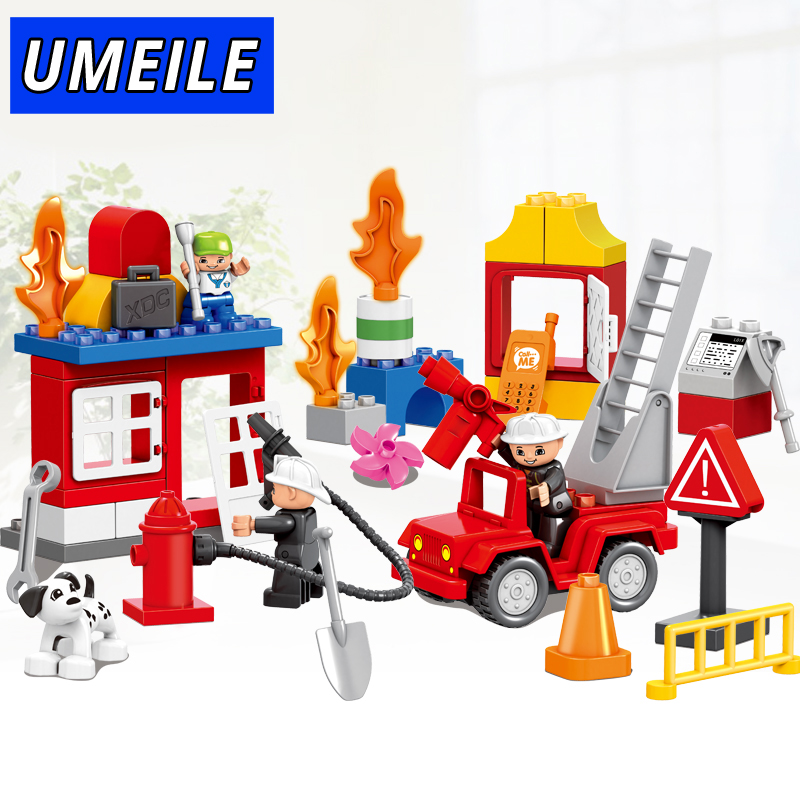UMEILE Brand 52PCS Fire Rescue Team Fighter Educational Kids Toys Diy Brick Set Original Building Block Compatible with Duplo cheerlink zm 81 3mm neodymium iron diy educational toys set silver 81 pcs