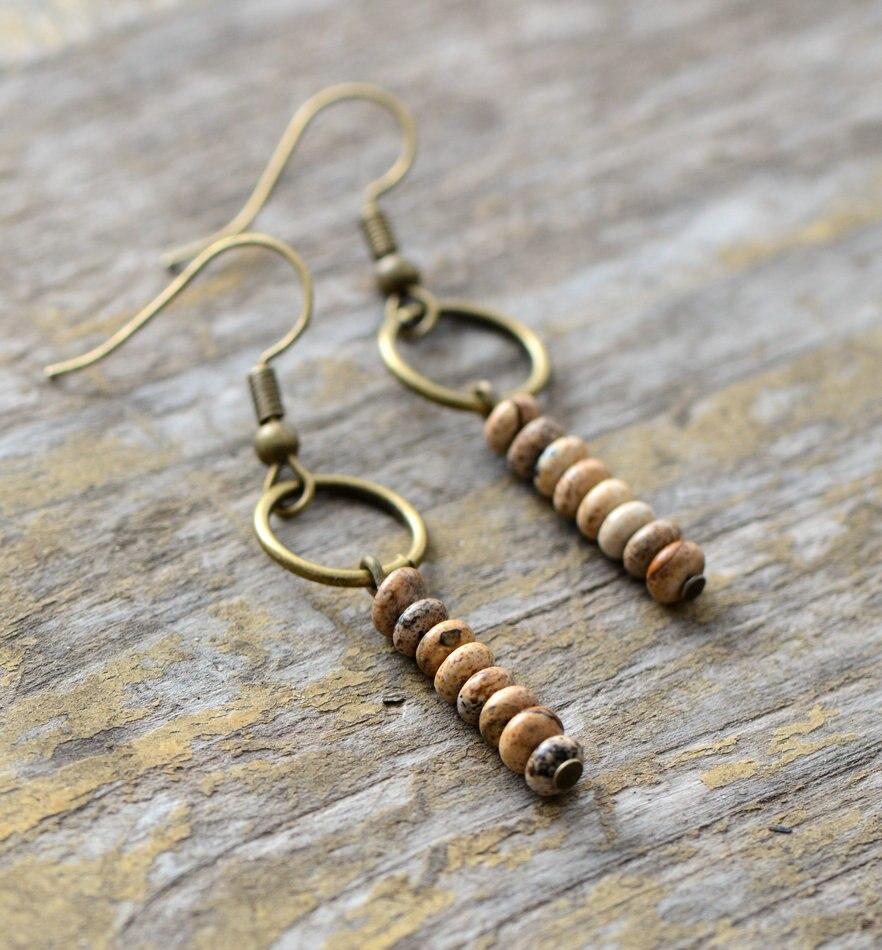 Womens Earrings Vintage Natural Stone Dangle Earrings Designer Bohemian Earrings European Ethnic Jewelry Dropshipping