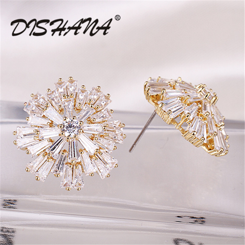 jewelry gold -color Stud Earrings for women jewelry wedding High Quality vintage 2015 new Wholesale (E0217) starry pattern gold plated alloy rhinestone stud earrings for women pink pair
