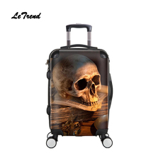 Letrend 3D Skull Rolling Bag bag Spinner Men Fashion Cabin Trolley چرخ دستی چمدان چرخ 20 اینچ زنان حمل مسافرتی در کیف دانشجویی
