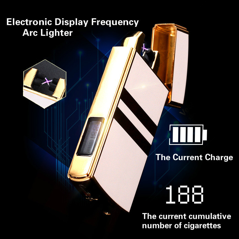 Electronic Display Frequency USB Arc Plasma Lighter Rechargeable Windproof High end No Gas Charging Cigarette Lighter