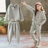 2019 Girls Sets Autumn Sport Suits Big Girls Alphabet Girls Kids Sports Sets Gray Color 4 6 8 Ages Girls Clothes 10 12 Year