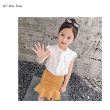 Summer Girl Clothes Two-piece Fashion Shirt T-shirt Lotus Hem Short Skirt Baby 2-8 Y Children Quality Clothing 2019 Hot Sale