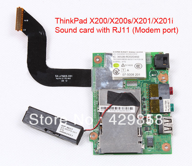 Replacement Sound Card board with RJ11 modem port for ThinkPad X200/X200s/X201/X201i