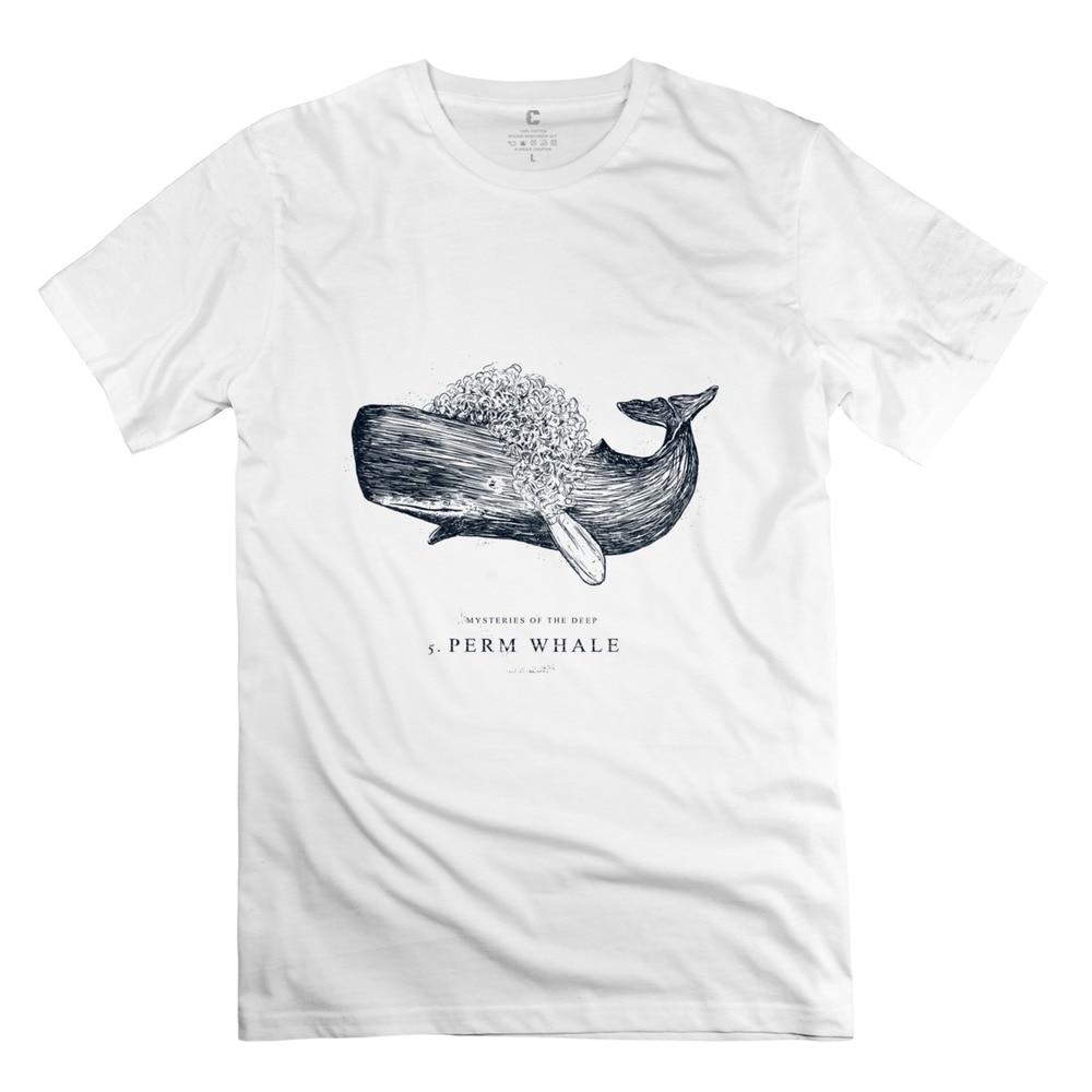 Classic Perm Whale Men t shirt Printing men Short Sleeve Apparel