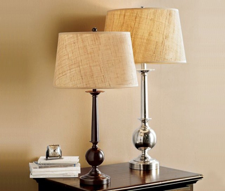 ... Retro American upscale hotel linen fabric bedside lamps bedroom lamps , wrought  iron lamps creative Nordic