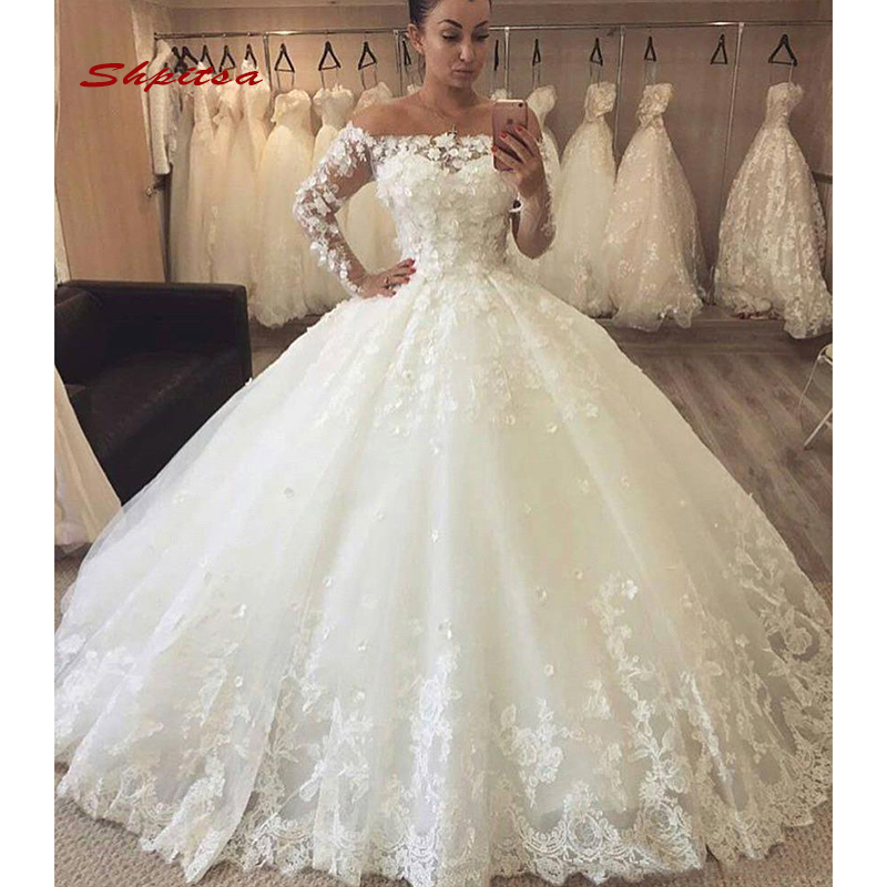 Long Sleeve Lace Wedding Dresses Ball Gown Off Shoulder Turkey
