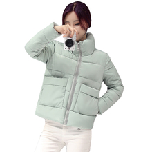 Women Winter Jacket Fashion Solid color Short jacket Female Coat Women New Slim Warm Down cotton clothing Long sleeve Coat 4L76