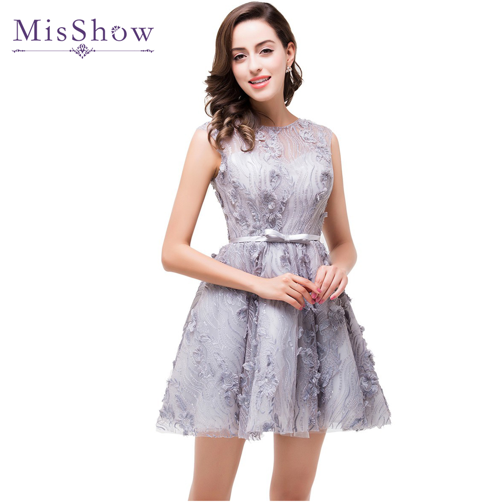 US size 2 4 14 A Line Gray Short See Through Back   Prom     Dresses   2019 Formal Party Gown Vestido De Festa Flower Gala   Prom     dress