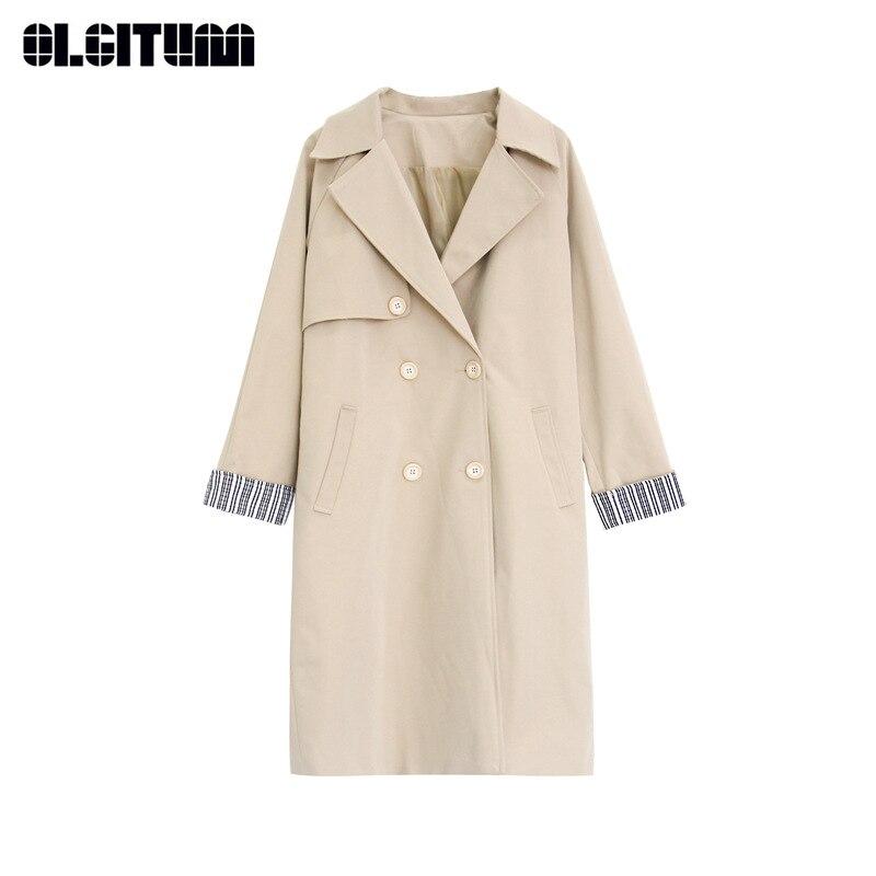 New Autumn Fashion Windbreaker Women Slim   Trench   with Waist Belt Pocket S-XL 2018 Long Loose Solid Outwear Female Khaki Green
