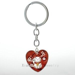 LLavero de moda de Maneki Neko rojo japonés de la suerte Beckoning joyas de Talismán llavero con anilla regalo de bienvenida H97