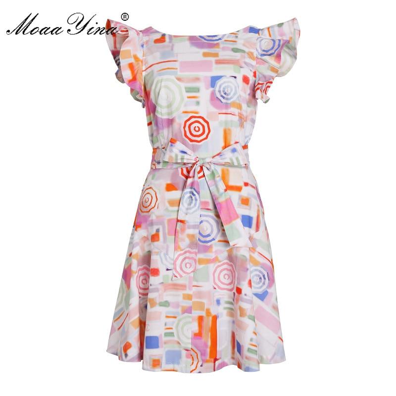 MoaaYina Fashion Designer Runway dress Spring Summer Women Cotton Dress Butterfly Sleeve Lace UP Backless Beach