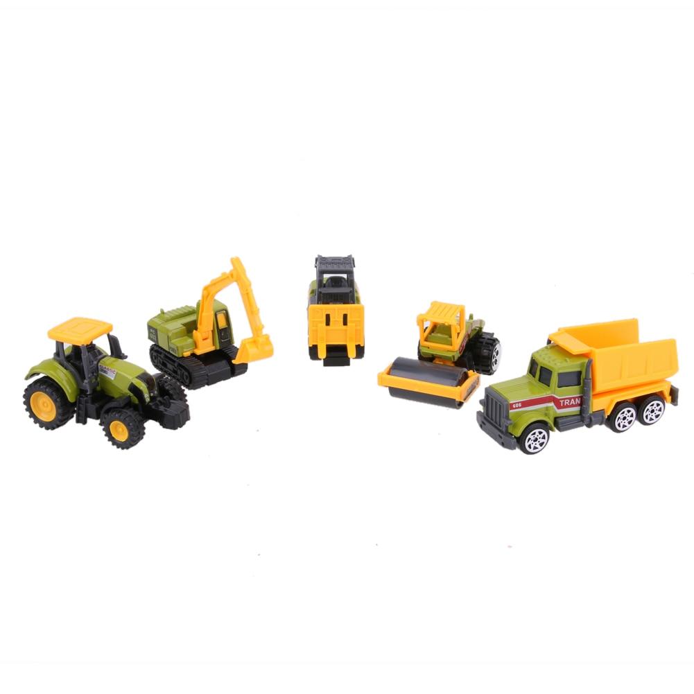 5pcs 1 64 Scale Alloy Truck Models Kids Children Diecast Mini Alloy Construction Vehicles Car Interesting