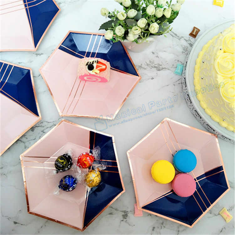 240pcs Rose Gold Hexagon Paper Plates Blush Pink Navy Blue Dishes First 1 Birthday Decorations Baby
