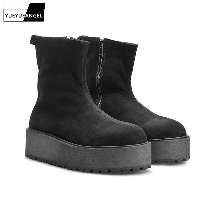 Модные зимние теплые ботинки для мужчин на толстом каблуке из натуральной кожи, замшевые ботинки для верховой езды на молнии, обувь с круглы