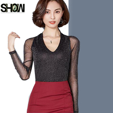 Autumn Basic Shirts New Design Hot Women Temperament See Through Tops Slim Elegant Office Lady Pink Black Mesh V Neck Blouse