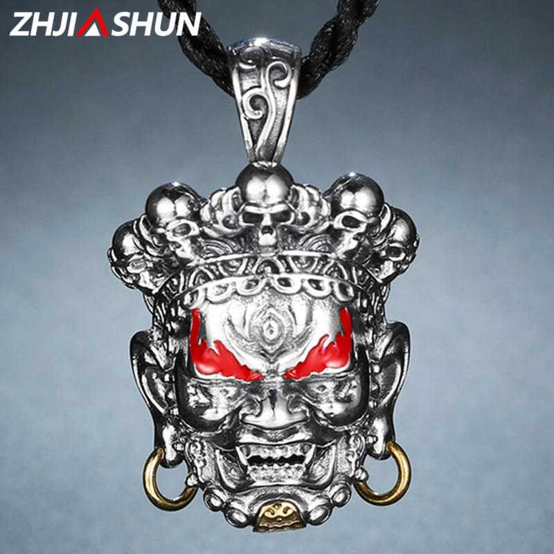 ZHJIASHUN Genuine 100% 925 Sterling Silver Lucky Necklaces Pendants for Men Male Thai Silver Jewelries zhjiashun genuine 100