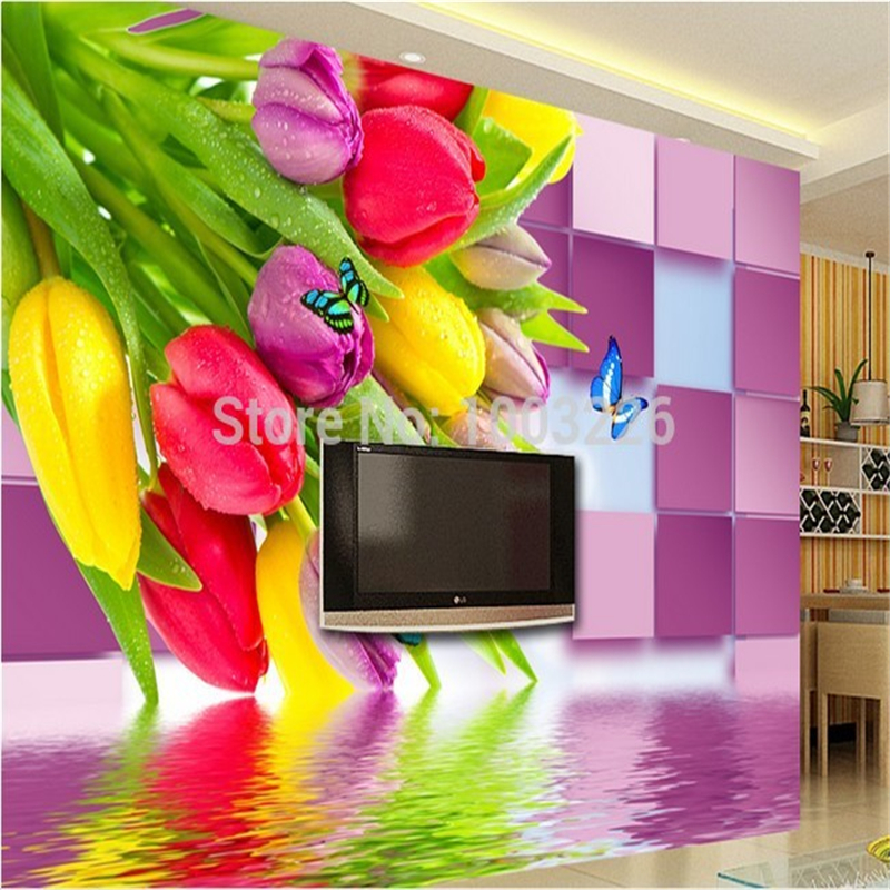 Beibehang tulip butterfly large custom mural tv background for Butterfly mural wallpaper