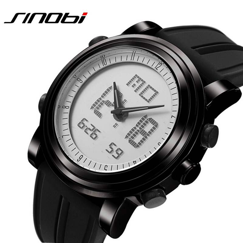 SINOBI Mens Watches Top Brand Luxury Sport Watches for Men Silicone Strap Led Digital Watch Men Wrist Watches relogio masculino sinobi golden geek watches mens creative fashion wrist watches rotate plate dial with milan strap relogio man s japan movt watch