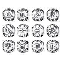 BAMOER 100 925 Sterling Silve Aquarius Star Twelve Constellations Sign Beads Charms Fit Bracelets Women DIY