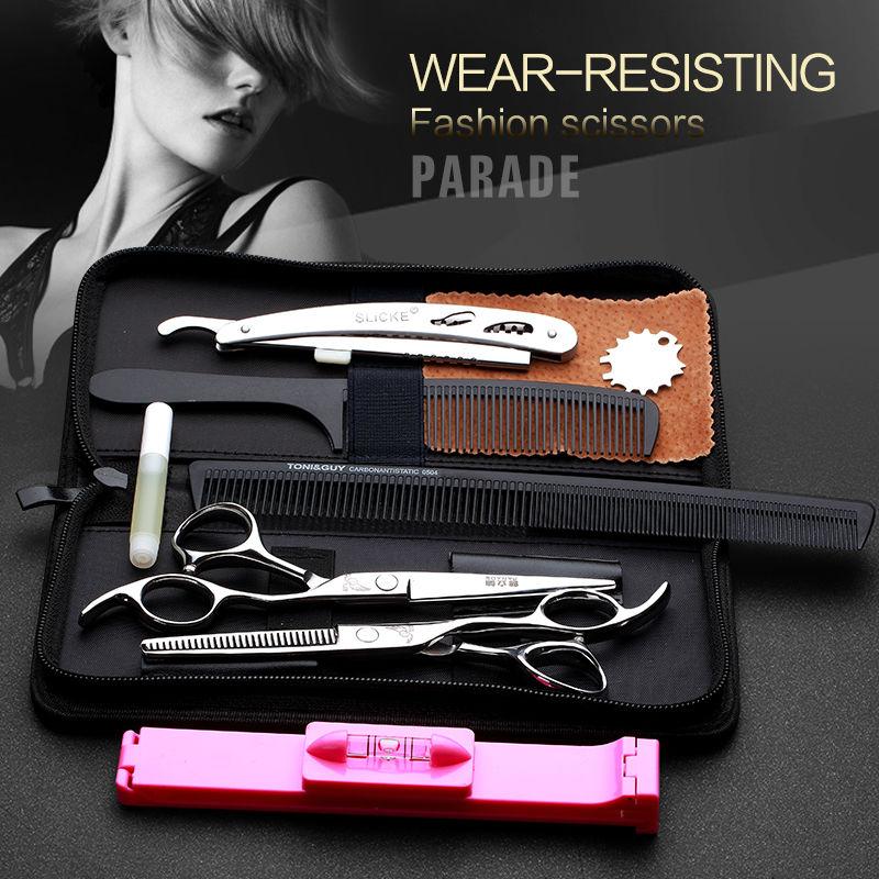 6 инчни алат за шишање и уклањање танких фризура Фризуре од нехрђајућег челика Фризерске шкаре за редовне равне зубе