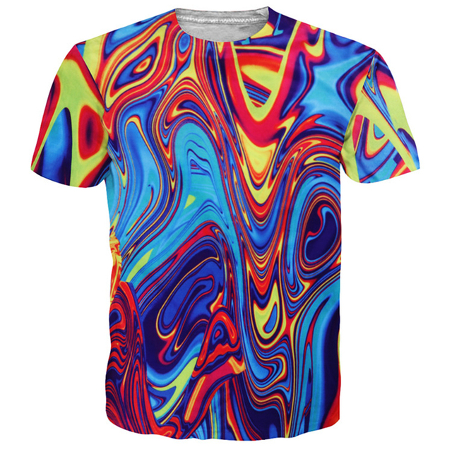 0edbc2c255c5 Psychedelic Swirl of Vibrant Colors All Over Printed 3d T-shirts for Men  Women Summer Abstract Tshirt Short Sleeve Tie Dye Tops
