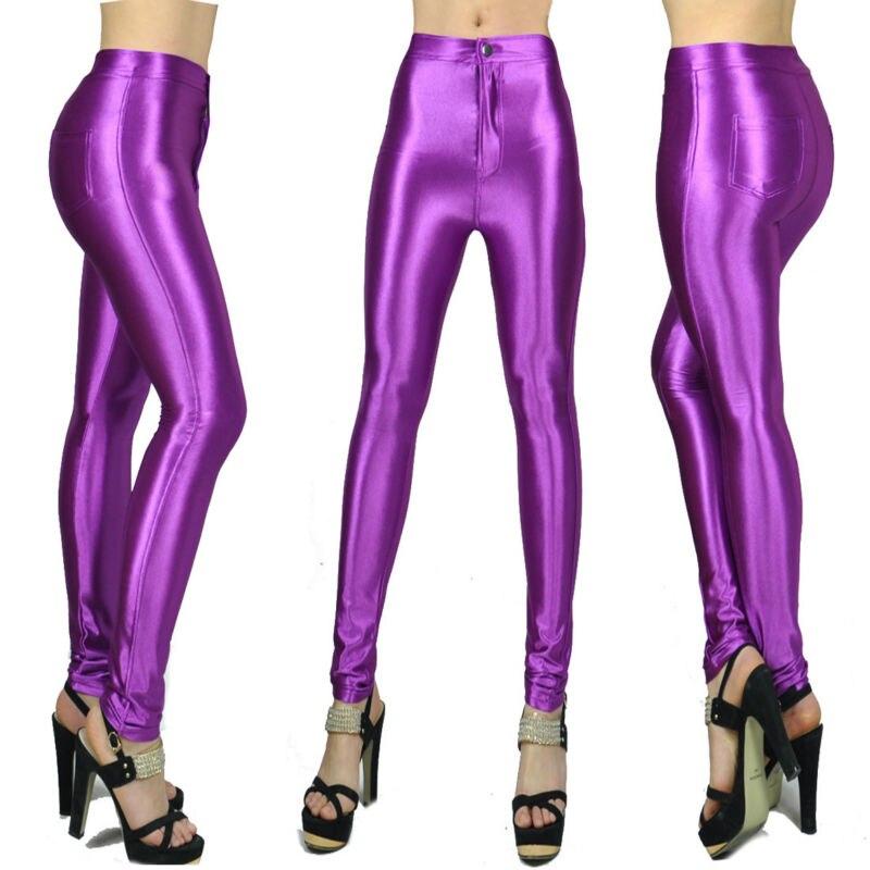 10 ألوان ربيع جديد أزياء لامعة ملونة نحيل AA ديسكو السراويل للمرأة مثير الجوارب منتصف الخصر الفتاة