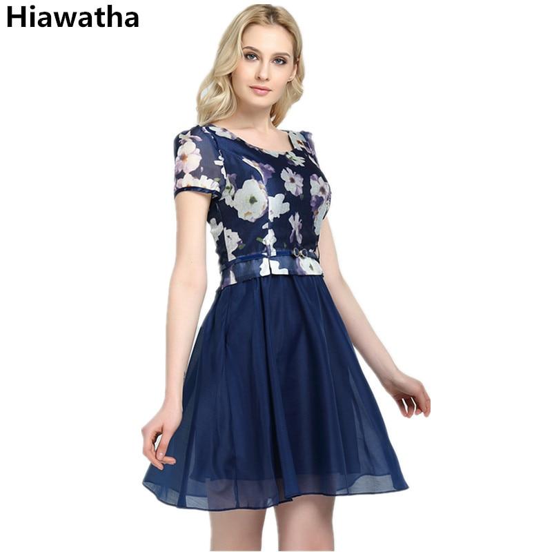 बेल्ट 8013 के साथ Hiawatha बॉल ग्रोइन वाइल ड्रेस महिला सुरुचिपूर्ण शिफॉन मिड-लॉन्ग फ्लॉवर प्रिंटेड ड्रेस