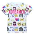 Emoji Camisa de Verano de Manga Corta Camiseta De La Muchacha Del Muchacho Tops Ropa de Niños Adolescentes Niños Emoji Emoticonos Smiley Faces Monya