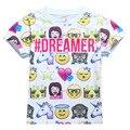 Emoji Camisa do Verão T-shirt de Mangas Curtas Para Menina Menino Encabeça Adolescentes Roupas Meninos Crianças Emoji Emoticons Smiley Faces Monya