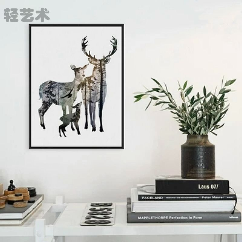 Poster Painting Deer Elk Family Wall Art Minimalist Canvas Animals Silhouettes Home Decor No Frame Modern Fresher Style