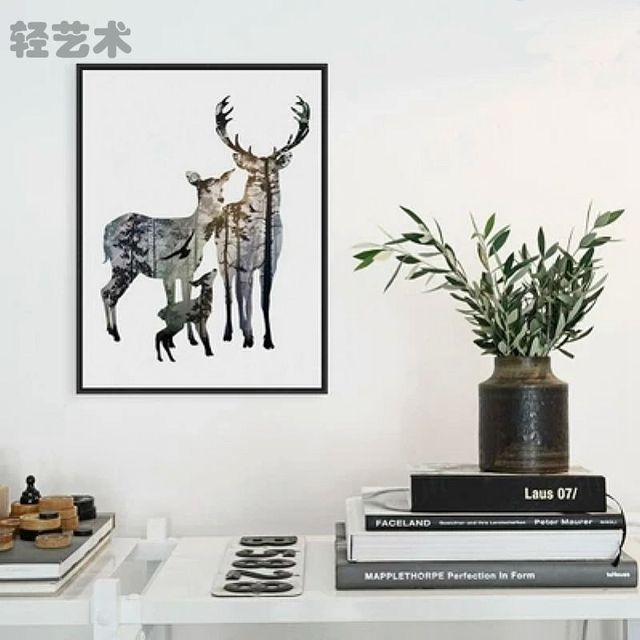 Poster Painting Deer Elk Family Wall Art Minimalist Canvas Animals  Silhouettes Home Decor No Frame Modern