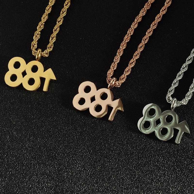 BeiChong Hip Hop Gold Stainless Steel 88 Rising Digital Pendant Necklace