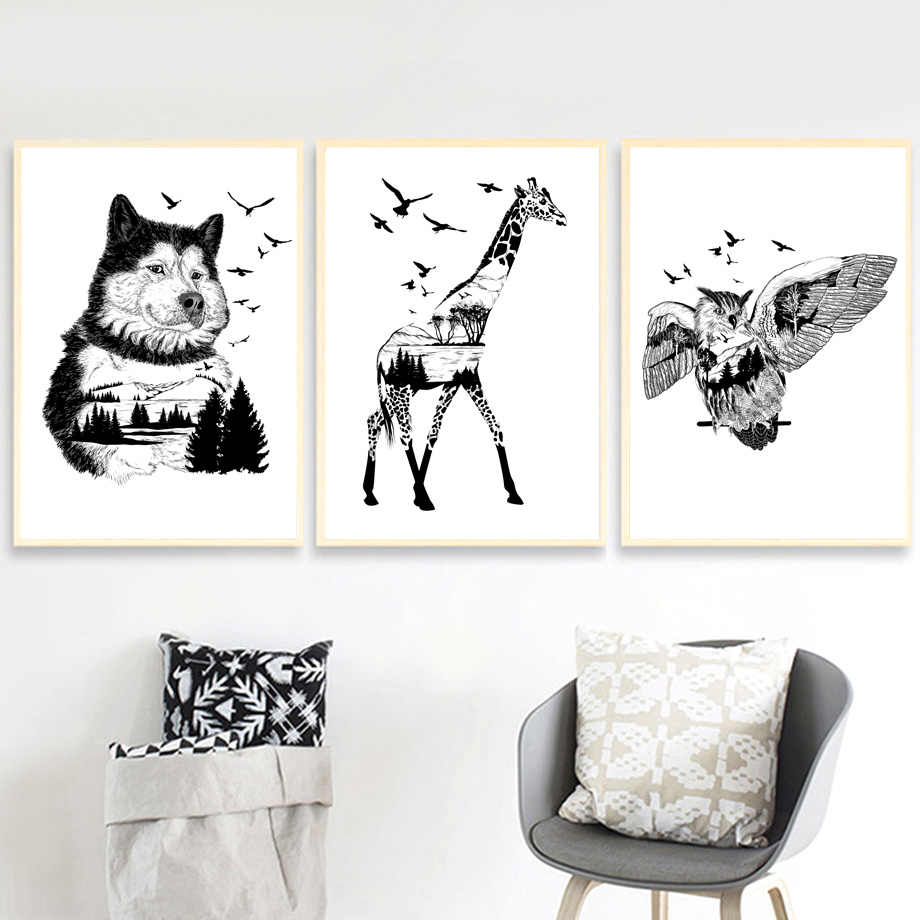 Black White Giraffe Eagle Wolf Mountain Nordic Posters And Prints Canvas Painting Animal Abstract Wall Pictures Kids Room Decor