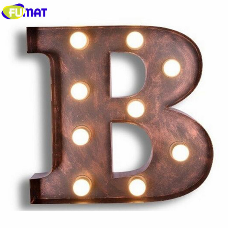 FUMAT Metal Letters B Wall Lamps Creative Iron Wall Lights Cafe Restaurant Logo Wall Lamp Living Room Hotel Wall Sconce