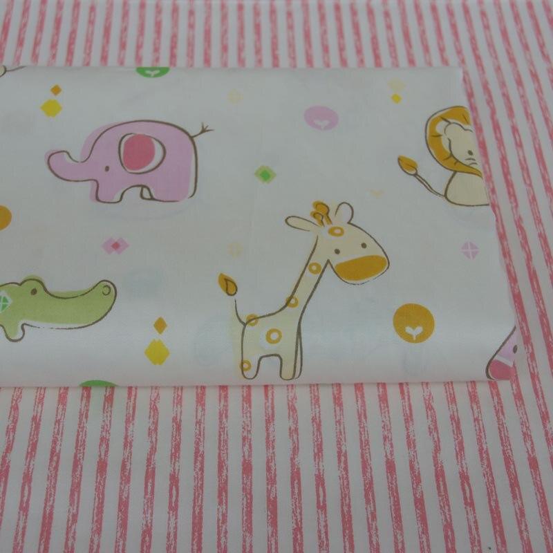 4d15a79b1 100% cotton twill cloth cartoon cute pink animals stripe fabric for DIY crib  bedding cushions