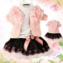 2-5 âges 3 pcs T-shirt + robe + manteau automne-hiver solides manches longues fleur arc princesse enfants bébé fille robe vêtements ensemble