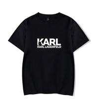 Карл костюм дизайнерский Печатный летний короткий рукав Футболка 2019 Новое прибытие пуловер Женщины/Мужчины Верхняя одежда летняя футболка