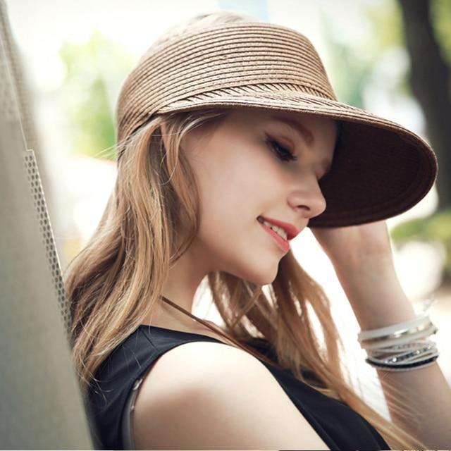 296c5b1969e 2016 Summer Fashion Women Lady Foldable Roll Up Sun Beach Wide Brim Straw  Visor Hat Cap Free Shipping